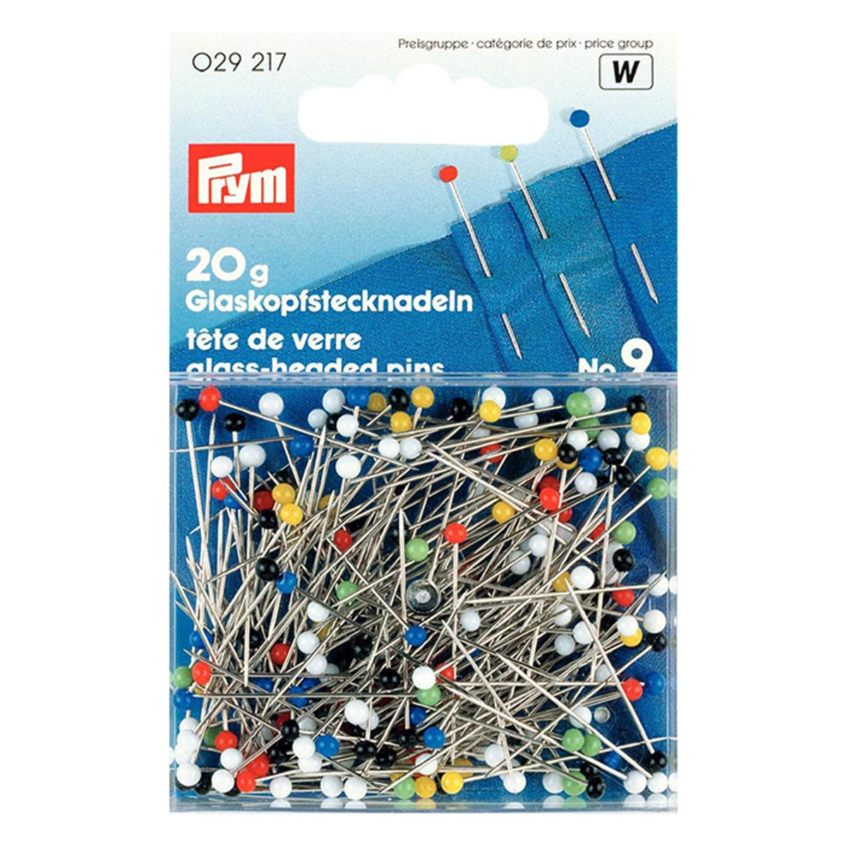 029217 Булавки со стеклянной головкой (сталь) №9 разноцветные (20гр) 0,60*30мм Prym
