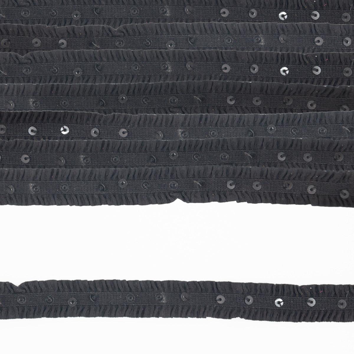 Тесьма W-035 резинка, с пайетками, 1,3см*1м