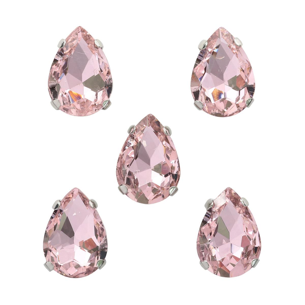 АЦ006НН1014 Хрустальные стразы в цапах формы 'капля', розовый 10х14 мм, 5 шт.