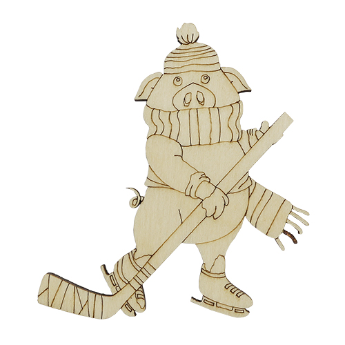 L-1000 Деревянная заготовка 'Хоккеист' 70*80*4мм Астра