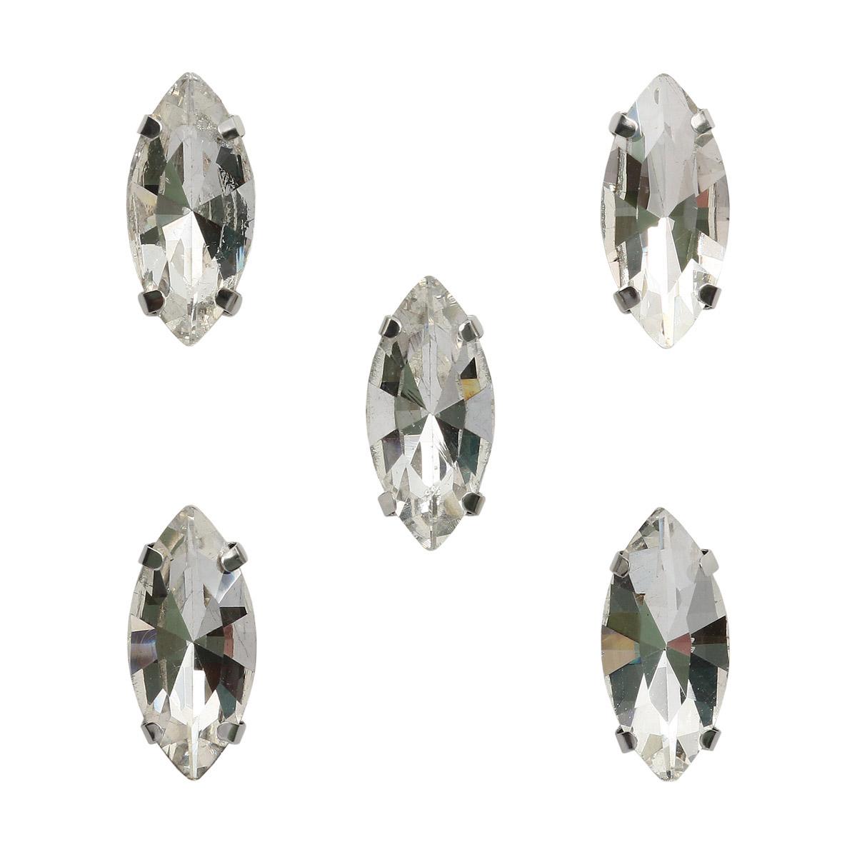 МЦ001НН715 Хрустальные стразы в цапах формы 'миндаль', белый 7х15 мм, 5 шт.