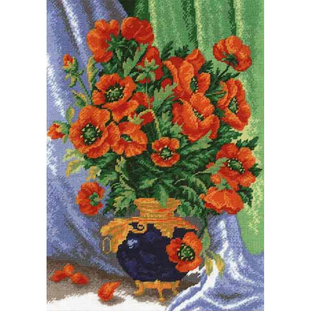 612 Набор для вышивания Hobby&Pro 'Букет маков', 24,5*35 см