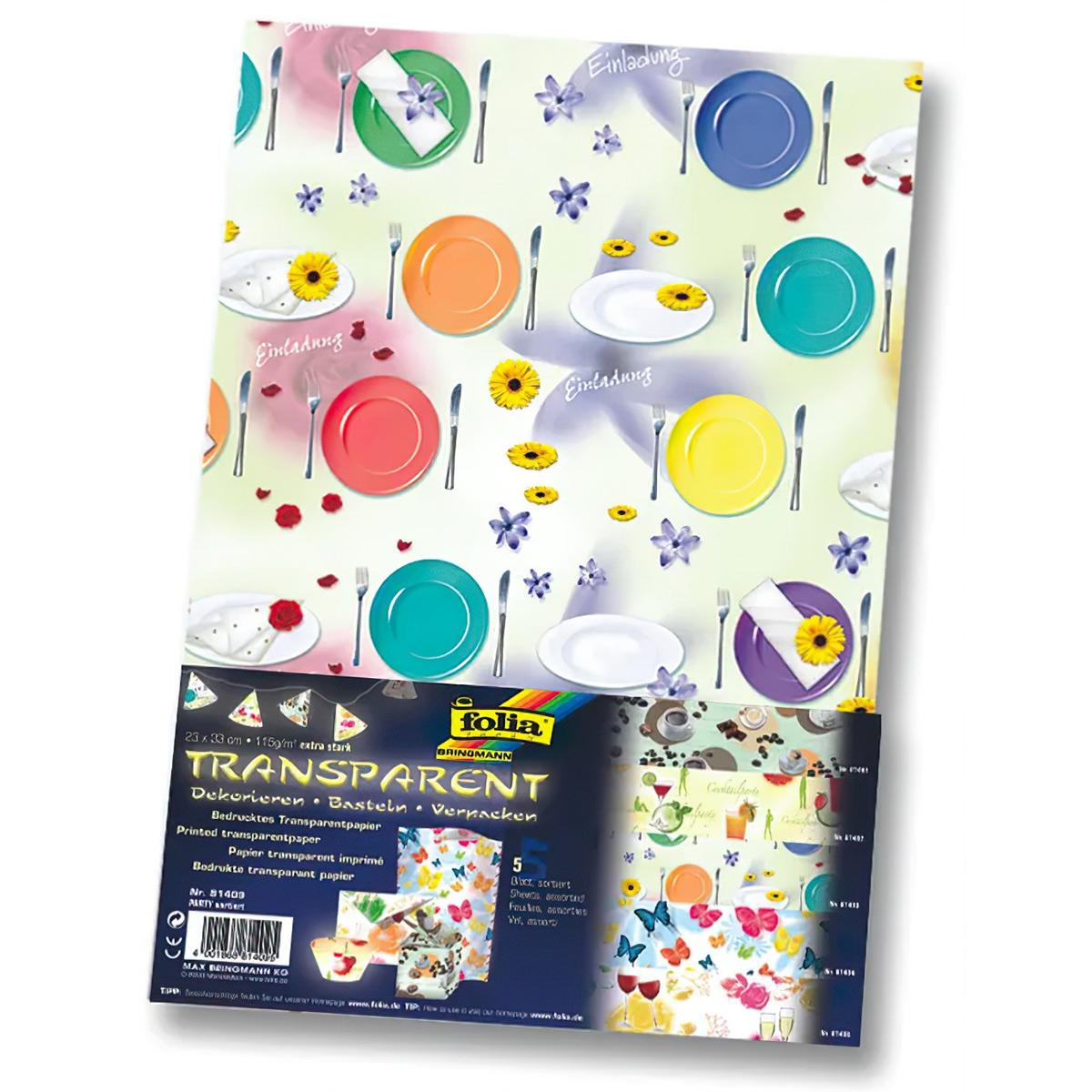 81409 Транспарентная бумага 'Вечеринка', 115 г/м², 23*33 см, упак./5 листов, Folia