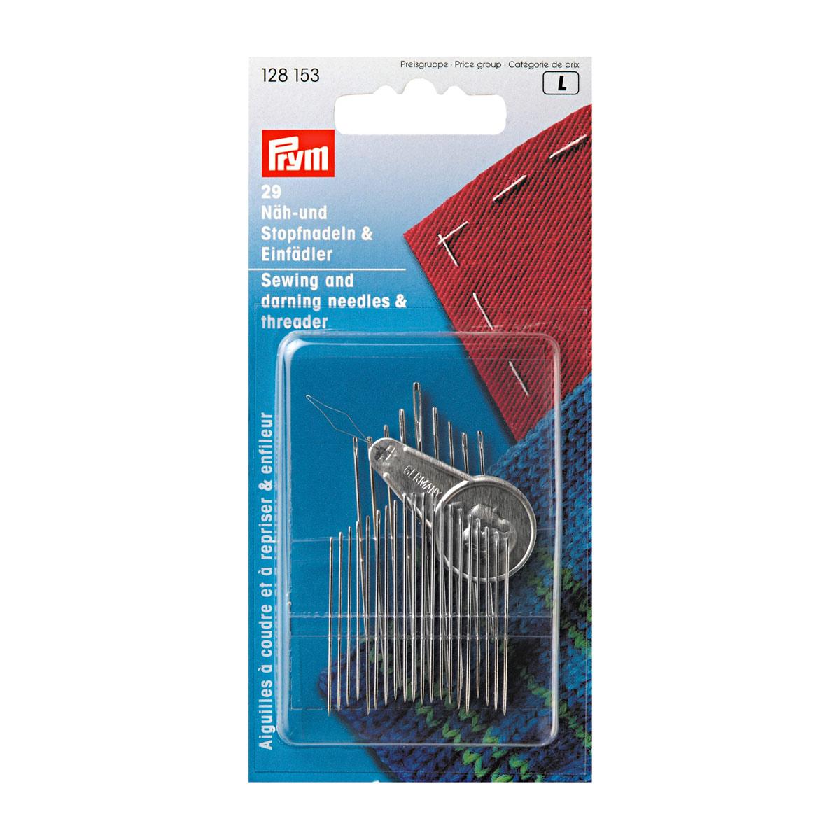 128153 Набор игл для шитья и штопки с нитевдевателем (29шт в уп) Prym