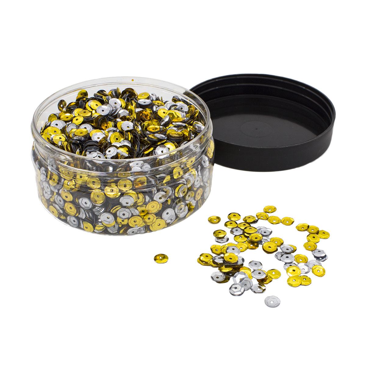 Большой набор золотых и серебряных пайеток, 6мм, 100 гр, Астра