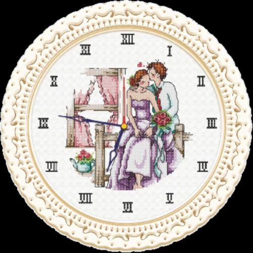 """Набор для вышивания крестом S-039 """"Часы любви"""", 22х22 см, Hobby&Pro"""