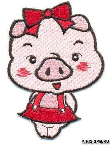 AD1192 Термоаппликация 'Свинка', 8*6 см, Hobby&Pro