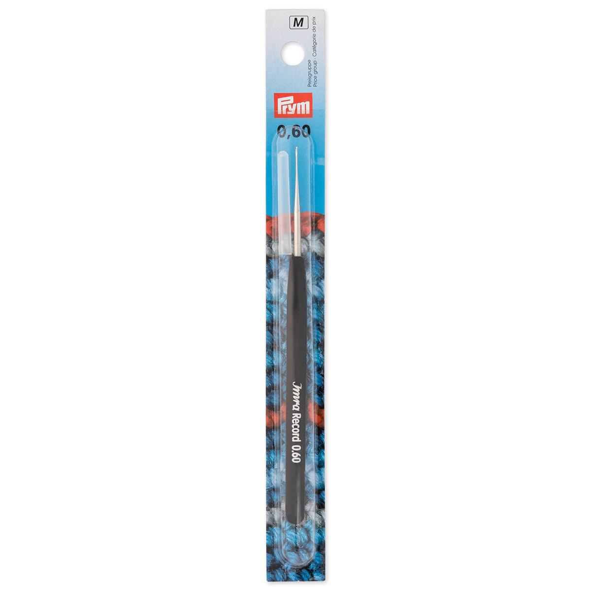 175625 Крючок IMRA Record для тонкой пряжи, мягкая ручка, сталь, 0,6 мм, Prym