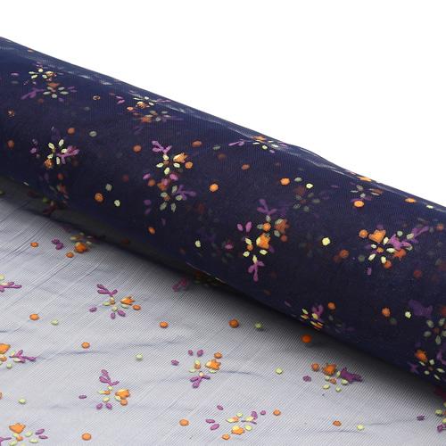 28432 Органза в цветочек, 50см*75см (+/-2см), 100 % п/э,синий