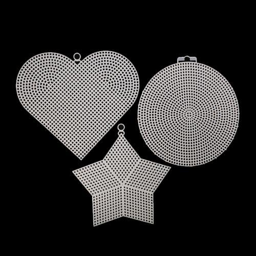 Канва пластиковая, больш. микс (круг, сердце, звезда), упак./3 шт., Bestex