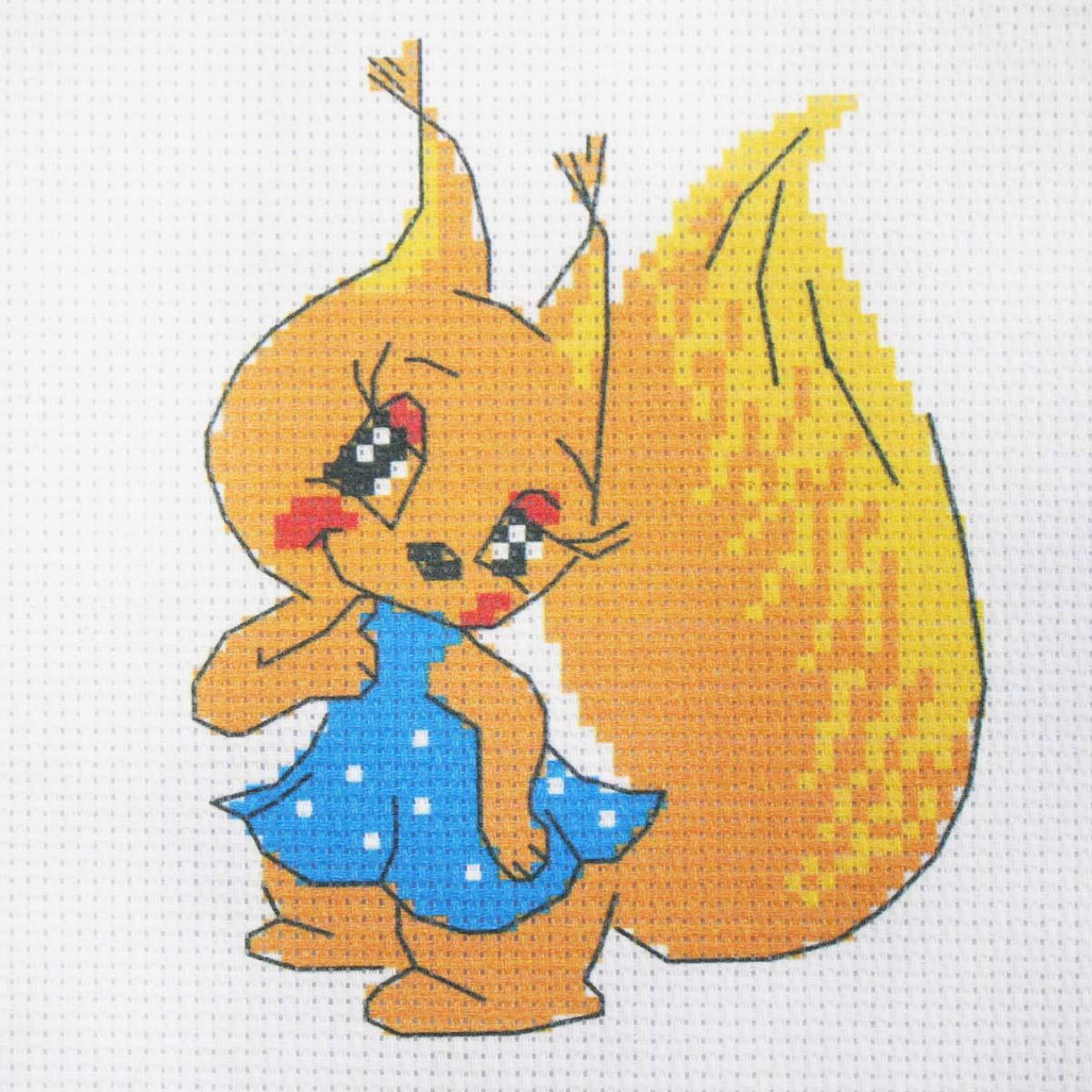 201 Набор для вышивания Hobby & Pro Kids 'Белочка в платьице' 19*19см