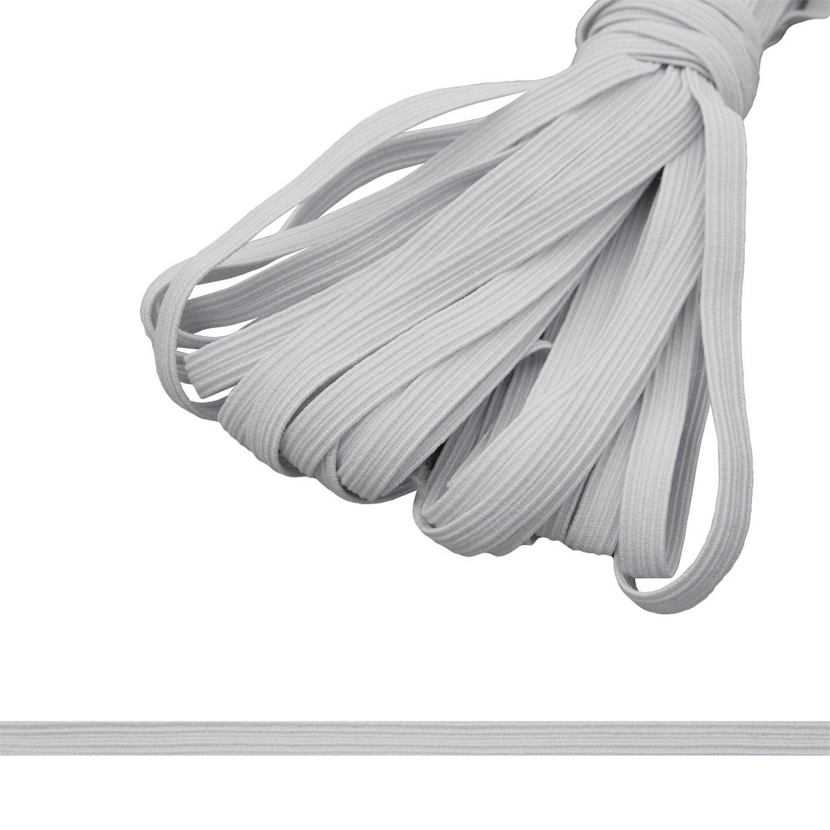 Тесьма эластичная, 7 мм (10*10 м), белый