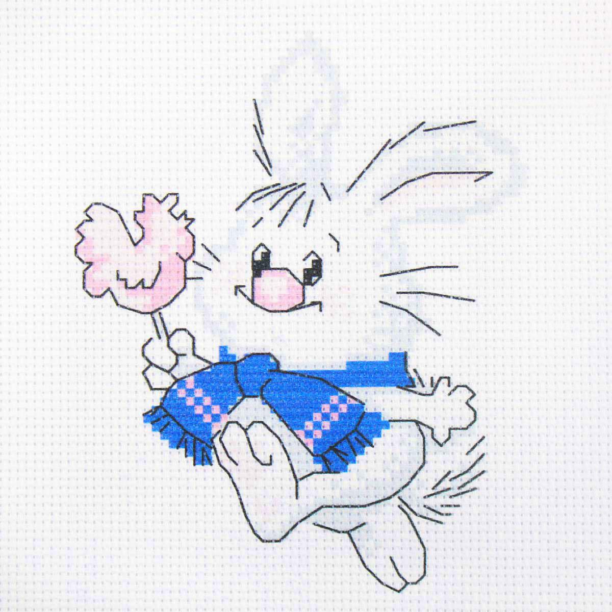 210 Набор для вышивания Hobby & Pro Kids 'Зайка с леденцом' 19*19см