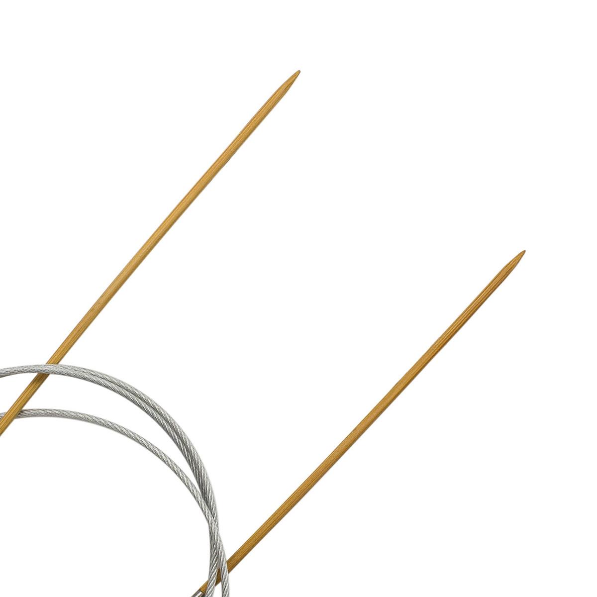 Спицы круговые бамбук с металлическим тросиком 942720, 100 см, 2,0 мм, Hobby&Pro