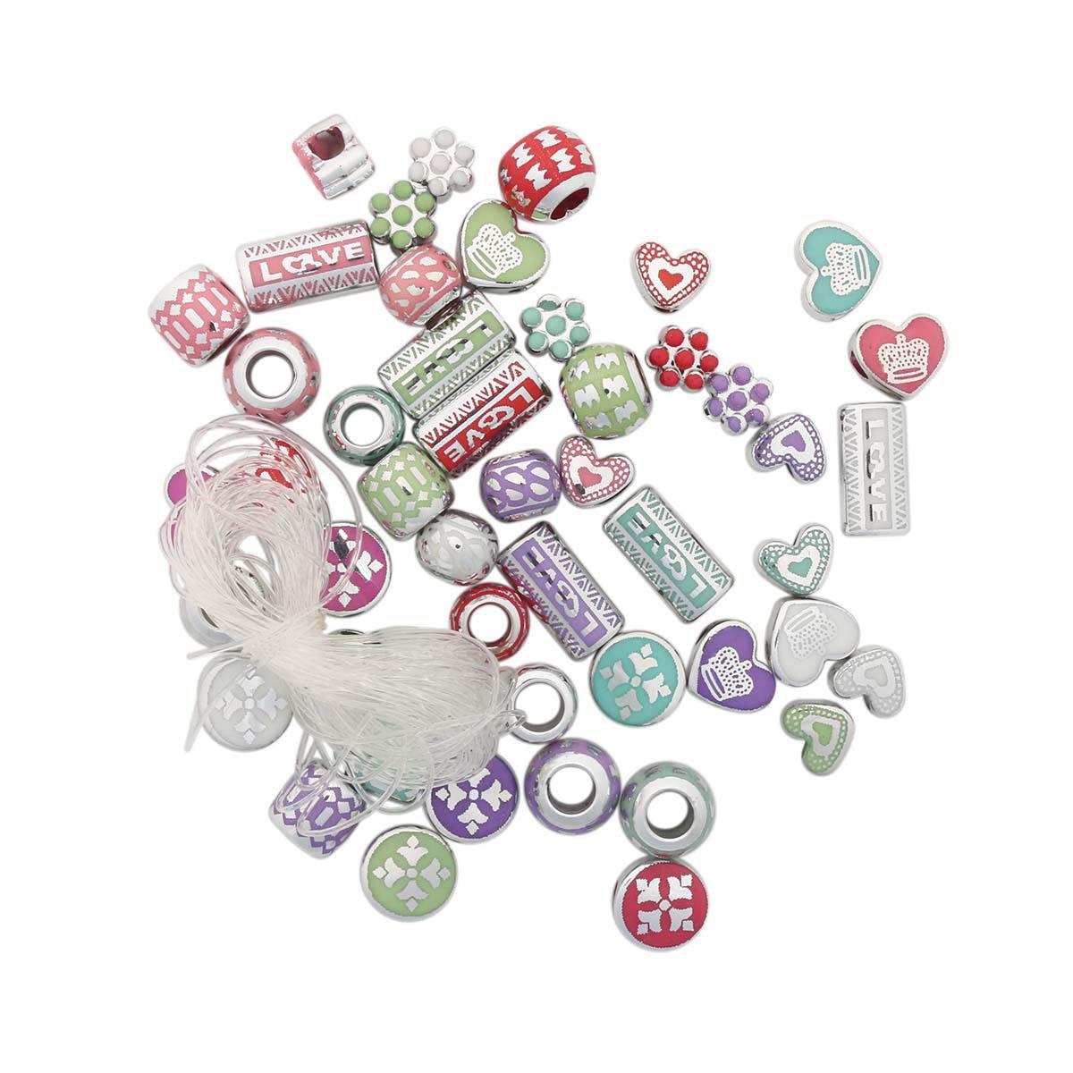 Набор металлизированных шармов 'Сердце', 48шт, Астра