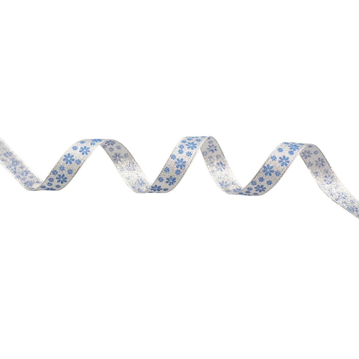 Декоративная лента 'Цветочки', DM-014, 15 мм*32,9м серебро/синий