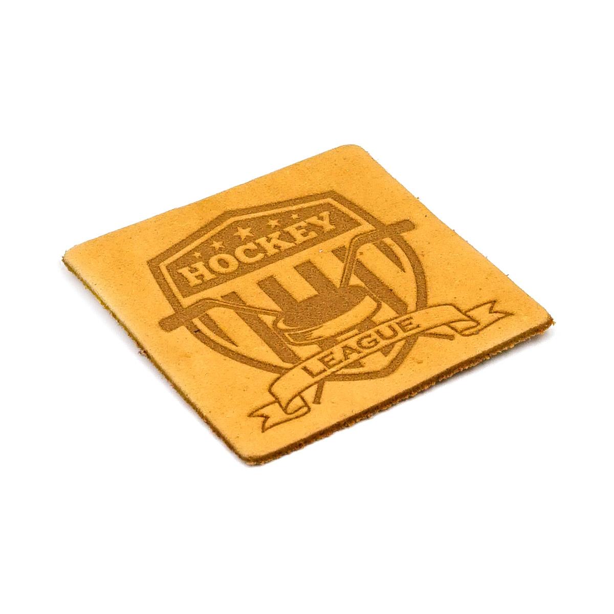 9 Термоаппликация из кожи Хоккей 5*5см, 100% кожа