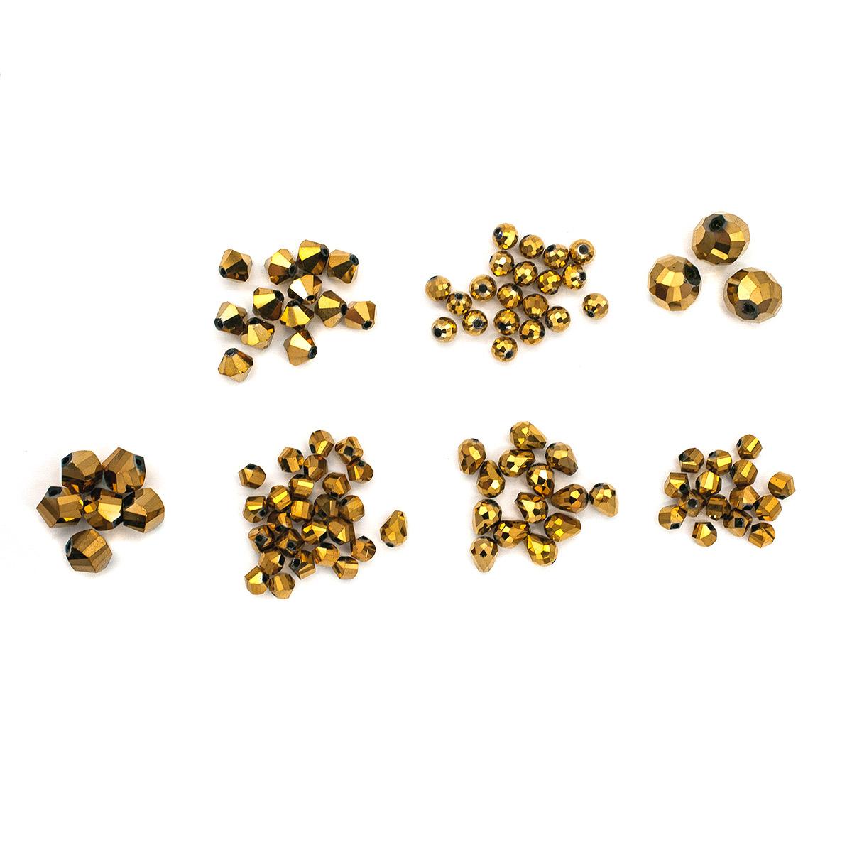 Набор стеклянных бусин 'Роскошный золотой', 95+/-2 шт, Астра