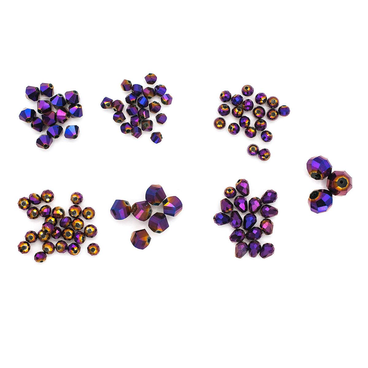 Набор стеклянных бусин 'Вечерний фиолетовый', 100+/-2 шт, Астра