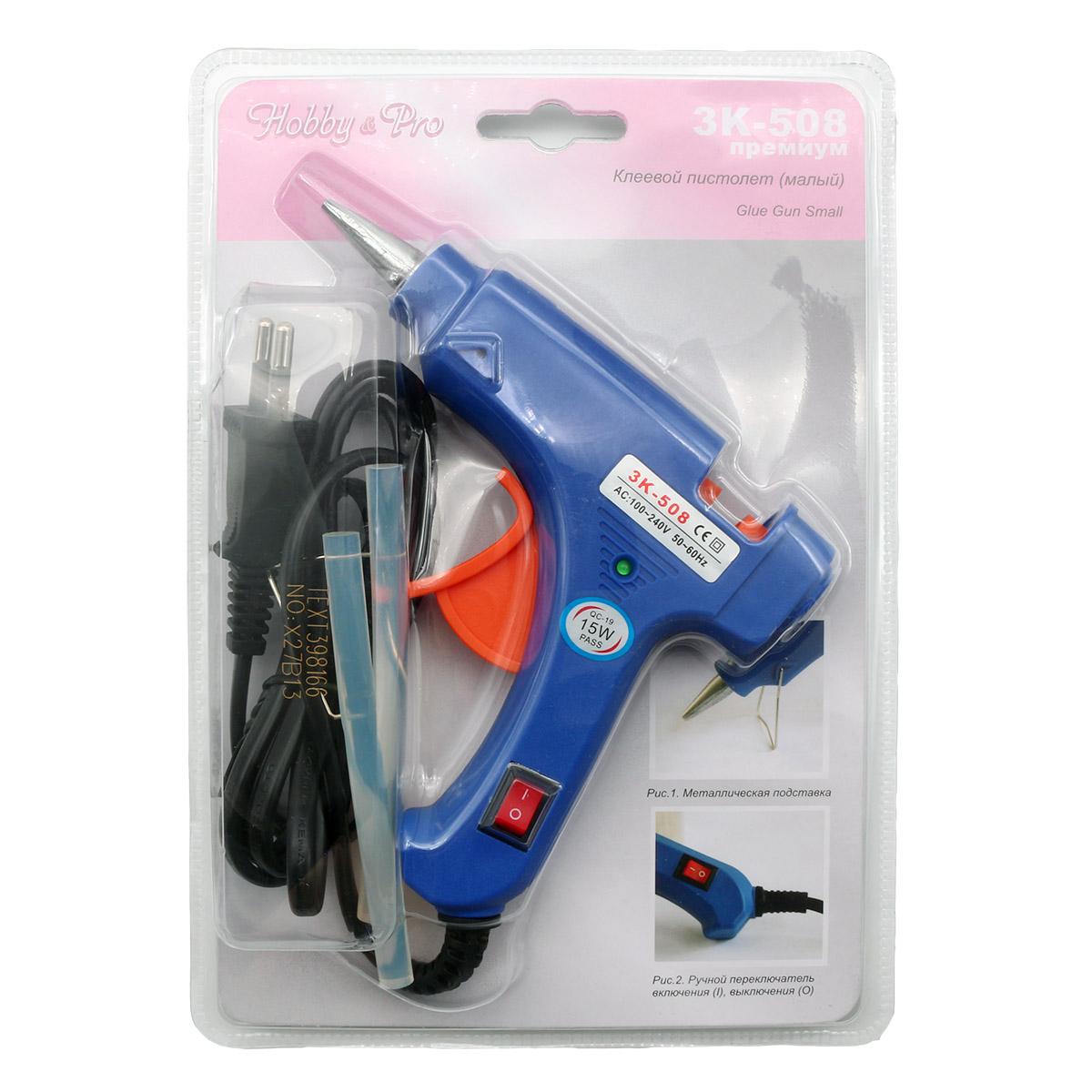 Клеевой пистолет малый с клеевыми стержнями в комплекте, Hobby&Pro