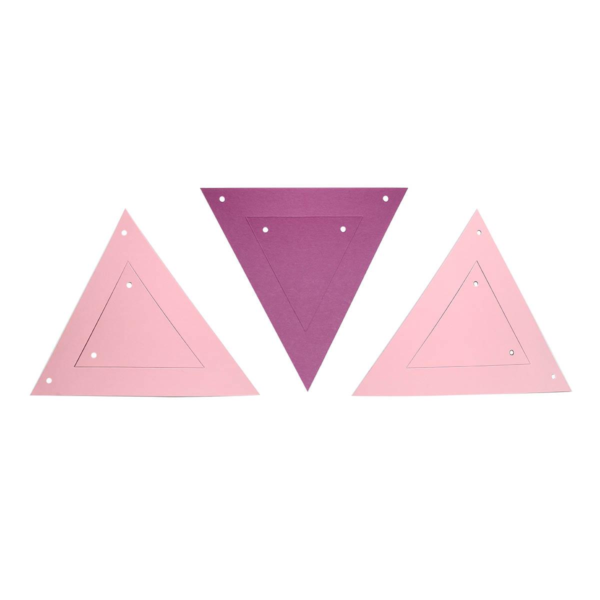 ГИР5002 Заготовка для гирлянды Треугольник 2 в 1 Розовый/Лиловый