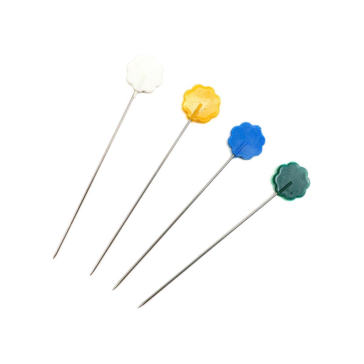 67701 Булавки с цветной головкой в форме цветка 0,53мм/53мм, сталь/пластик, 5гр PONY