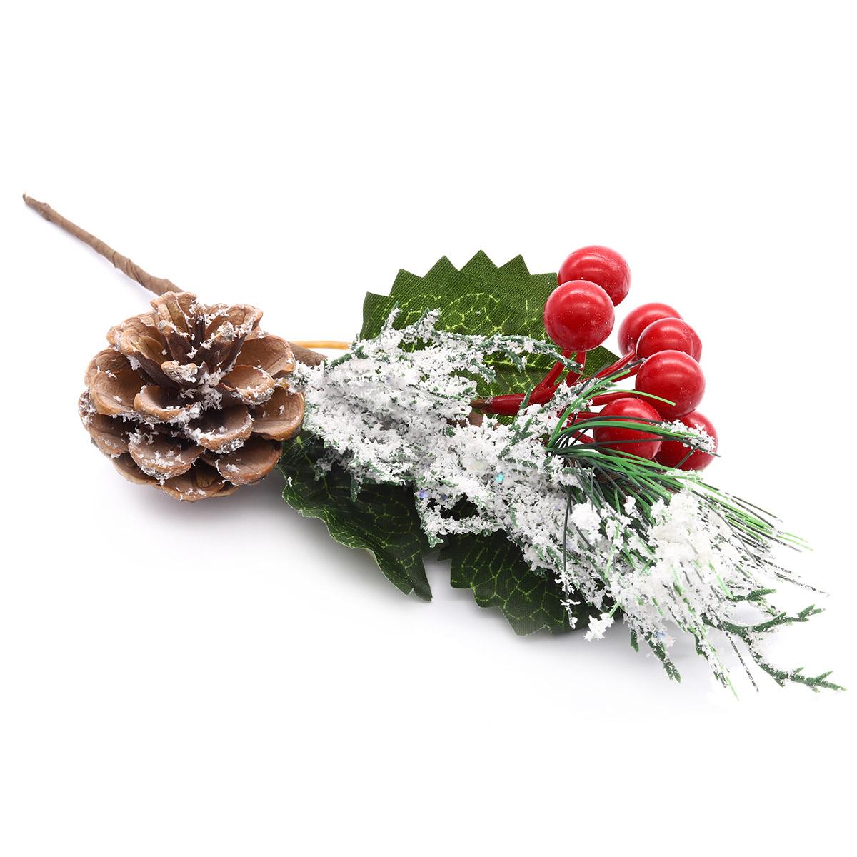 XY19-260 Ветка сосновая декоративная с ягодами, 28см