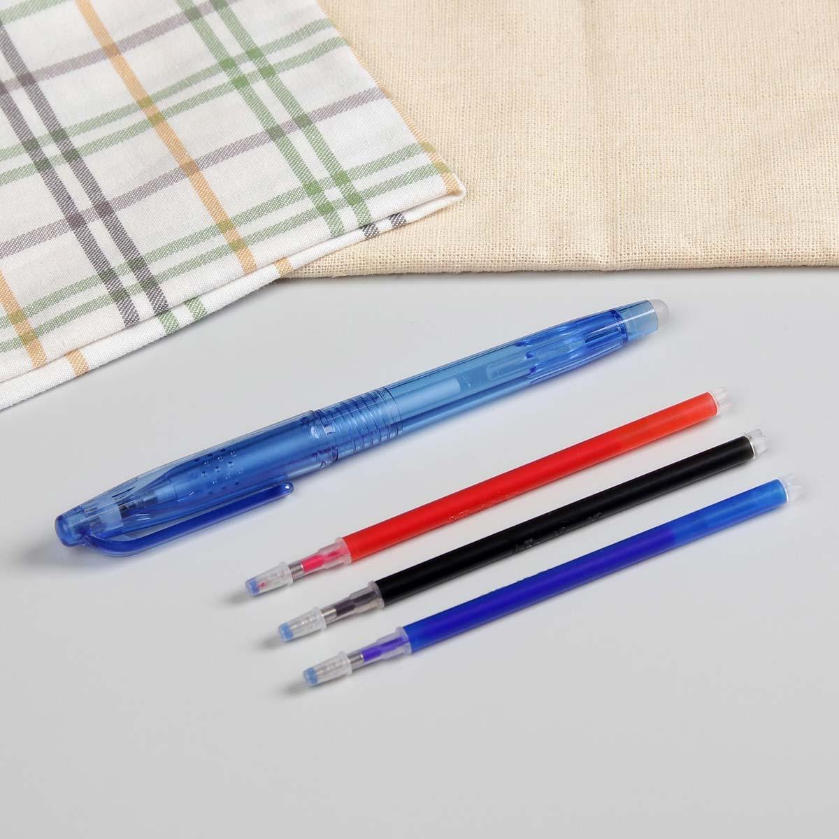 4461203 Ручка для ткани термоисчезающая, с набором стержней, цвет белый/розовый/чёрный/синий
