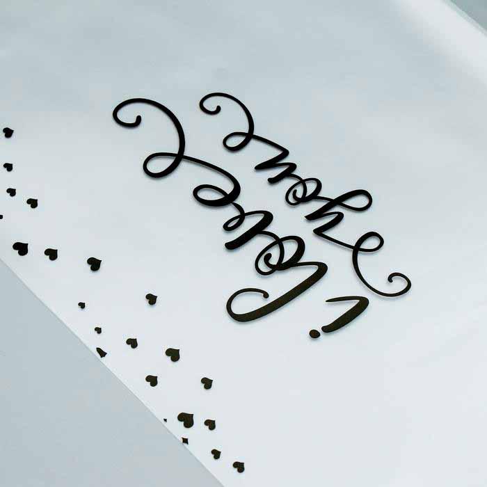 4562343 Плёнка прозрачная матовая 'Сердечки', цвет черный, 60*60 см