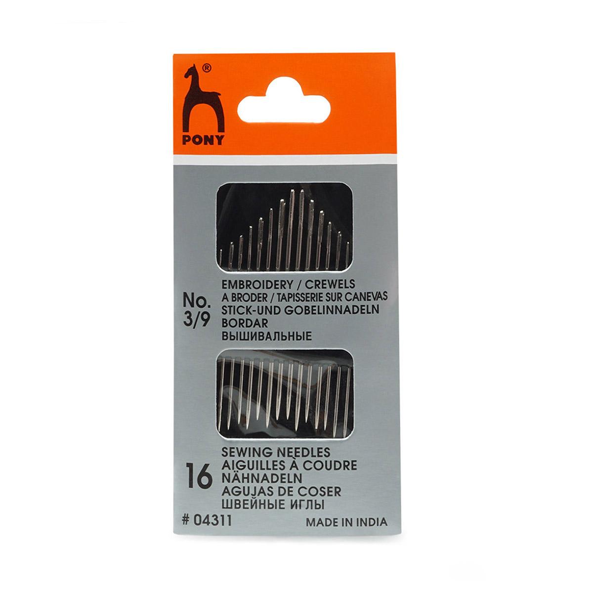 04311 Иглы для вышивания и шитья № 3-9, 16 шт PONY