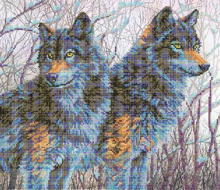 В1096 Канва с рисунком Alisena 'Пара волков', 35*30 см