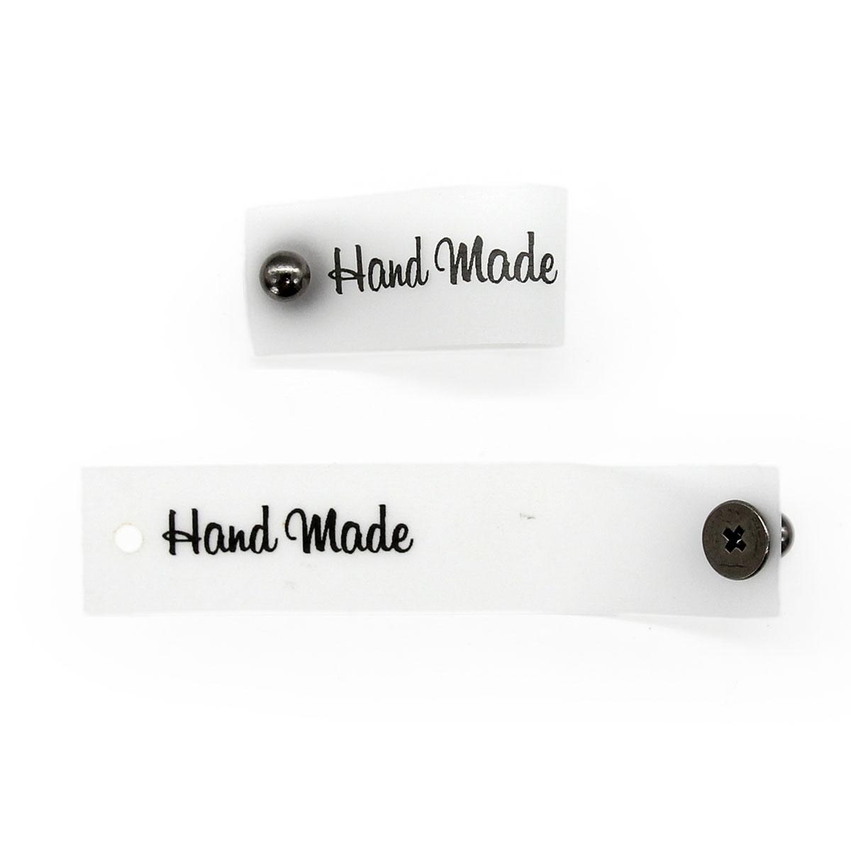 Силиконовая бирка 'Hand Made' с кнопкой черная печать 1,5*7см, уп.4шт