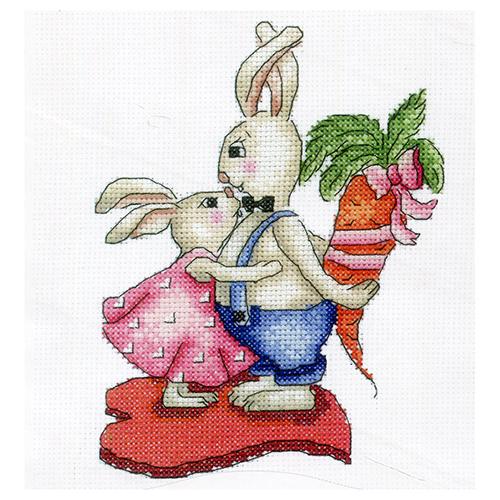 З-38 Набор для вышивания 'Зайки. Любовь-морковь ' 12,5x16,5 см