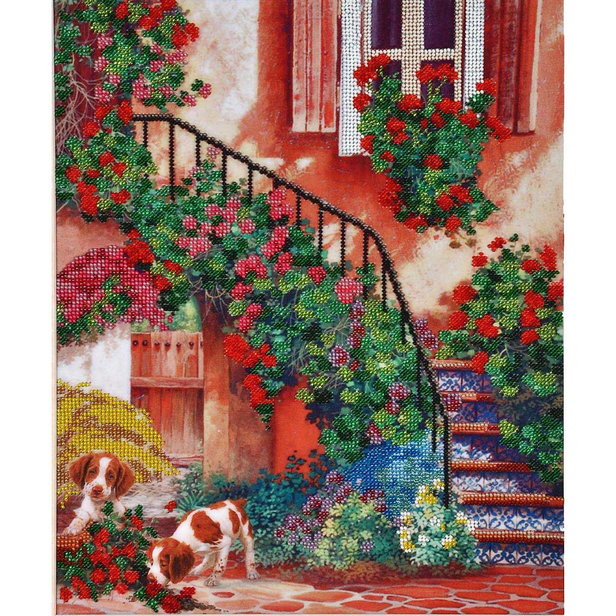 """Набор для вышивания бисером БН-3073 """"Цветочный дворик"""", 30х36 см, Hobby&Pro"""