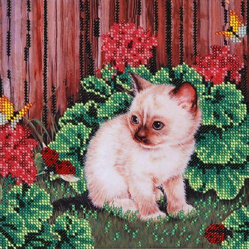"""Схема для вышивания бисером НР-3012 """"Котенок с бабочками"""", 20х20 см, Hobby&Pro"""