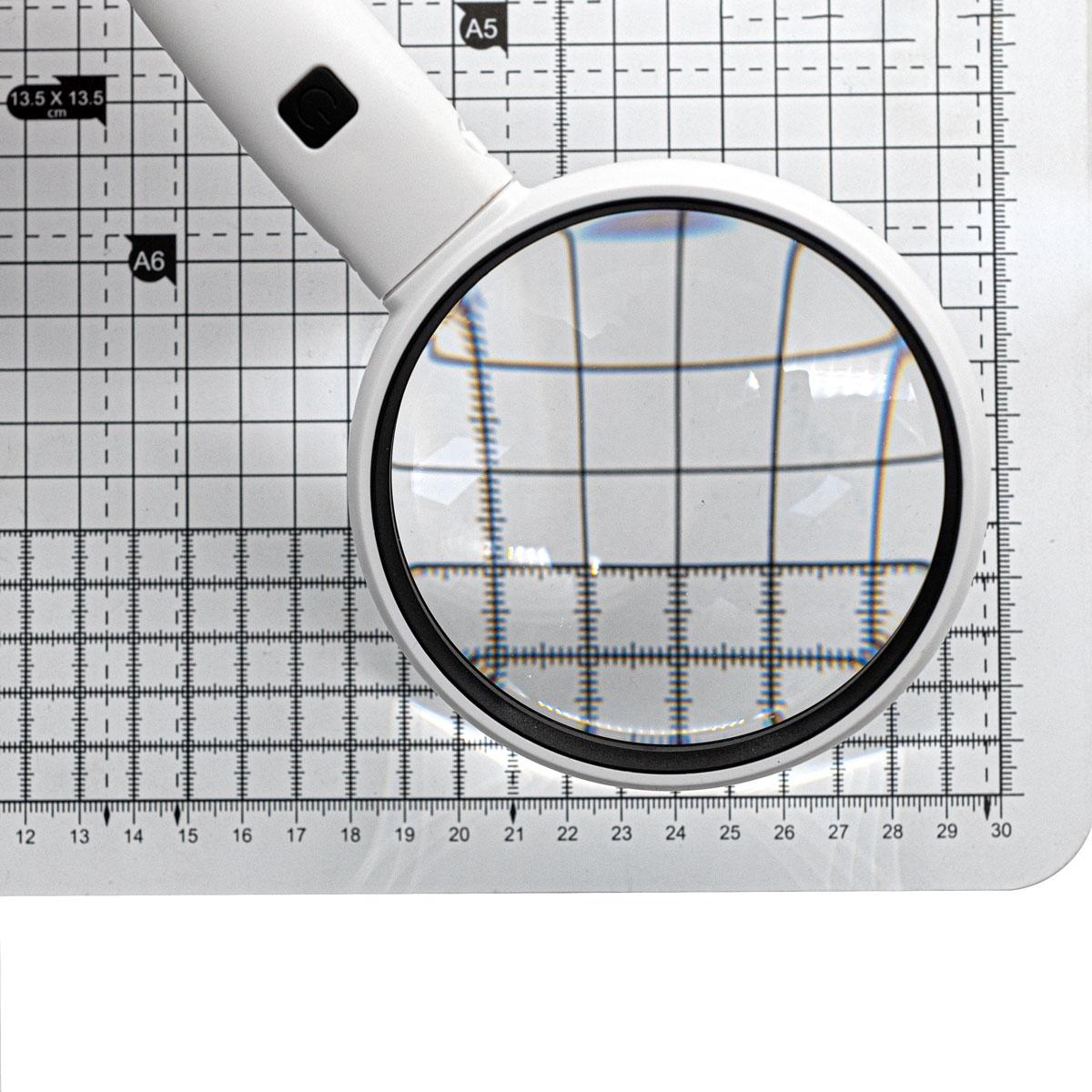 77790 Лупа ручная 3.5х, диам. 90мм, с подсветкой (2 LED), цв. белый