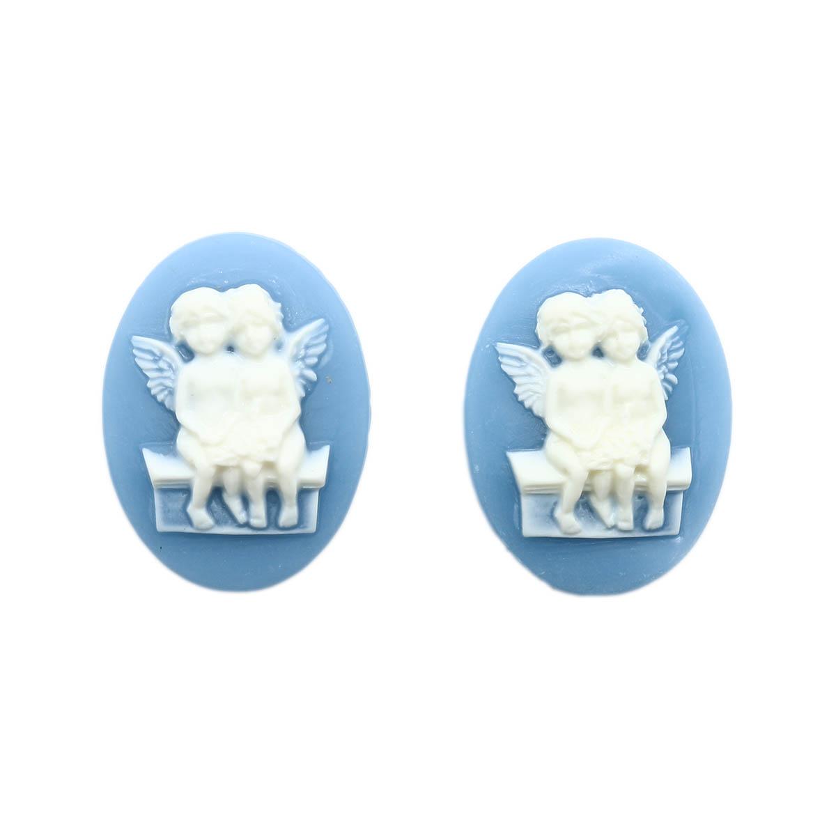 ARS0227 Камеи 'Ангелы', (полимер), бело-голубой, 3*4*0,5 см, упак./2 шт., Vintage Line