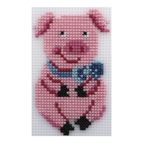 П-0041 Набор для вышивания на пластиковой канве Hobby & Pro Kids 'Свинка', 6,5*11,3 см
