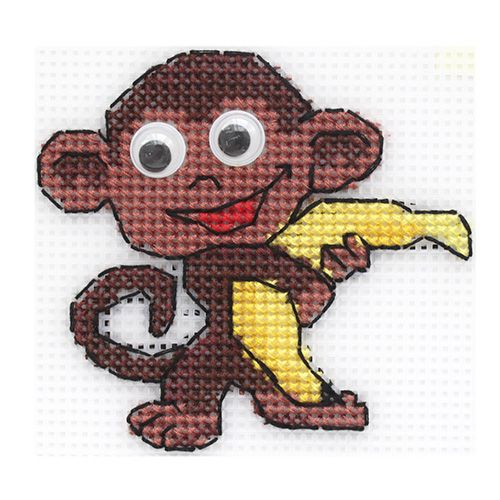 """Набор для вышивания на пластиковой канве П-0043 """"Мартышка"""", 9х8 см, Hobby&Pro"""