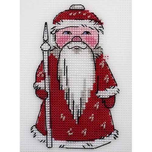 П-0044 Набор для вышивания на пластиковой канве Hobby & Pro Kids 'Дед Мороз', 9,5*14,5 см