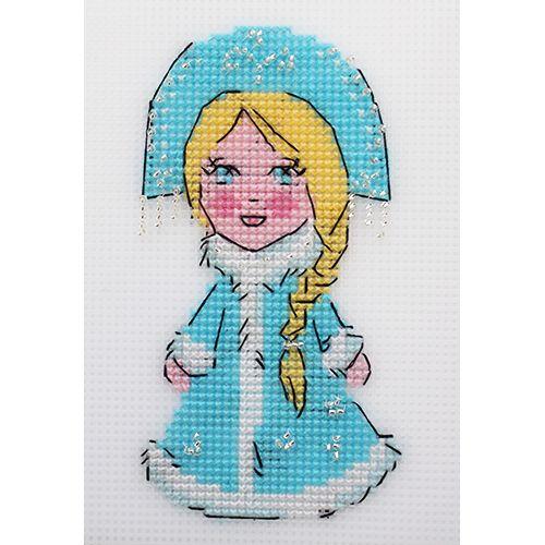 П-0048 Набор для вышивания на пластиковой канве Hobby & Pro Kids 'Снегурочка', 14,5*8 см