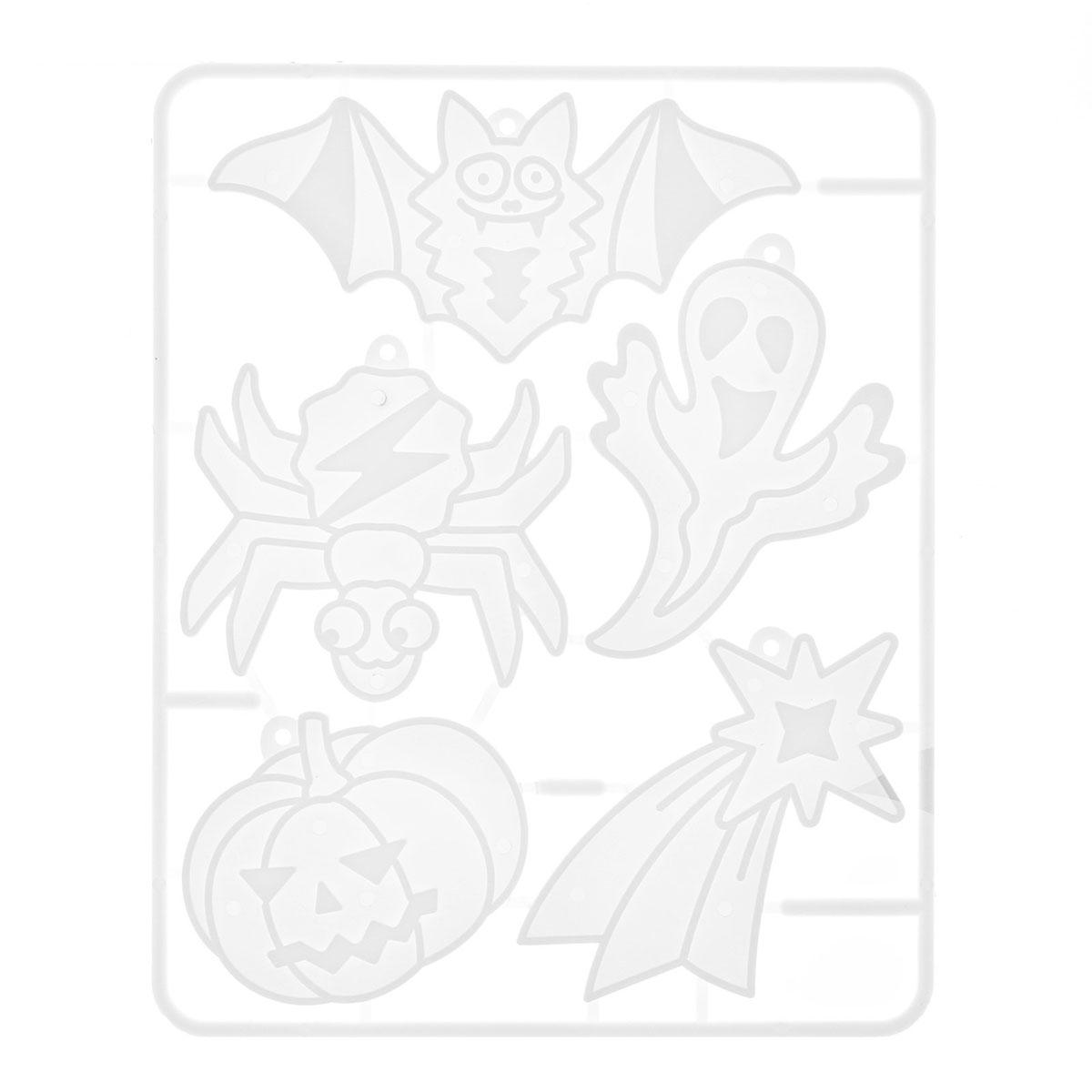 28С 1678-08 Набор красок по стеклу с трафаретом 'Витражные подвески. Светящиеся страшилки'