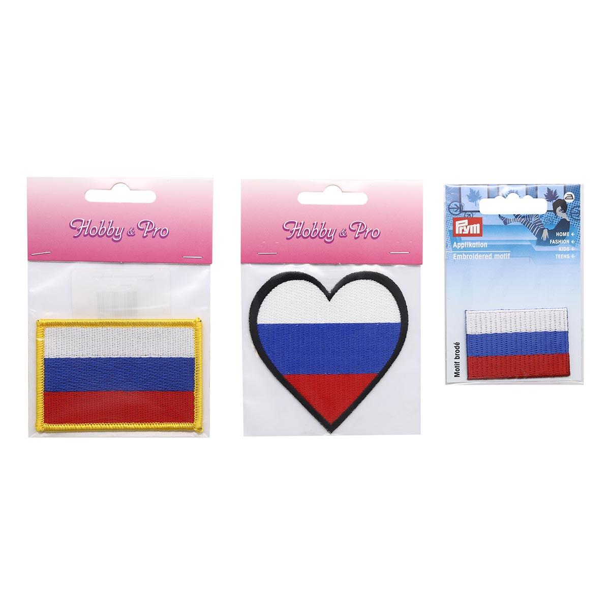 Набор термоаппликаций Флаг России,упак(3шт), Hobby&Pro