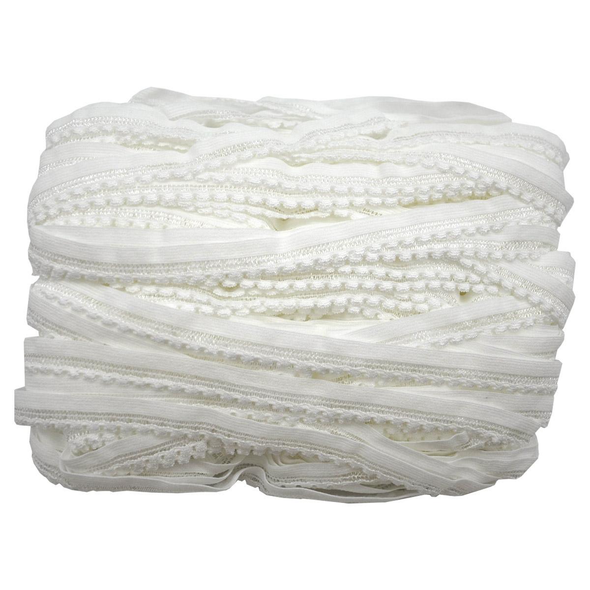 ST/08 эластичная ажурная лента 10мм*50м, белый