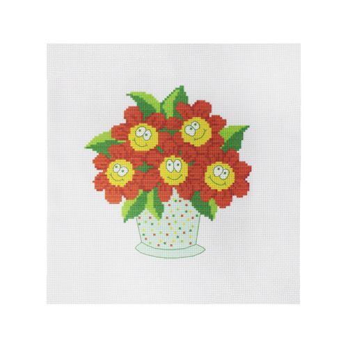 ПК-137 Набор (рис/канв. мулине) Hobby&Pro 'Цветочки в горшочке' 22*22 см