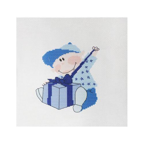 "Набор рисунок на канве + мулине ПК-138 ""Мальчик с подарком"", 22х22 см, Hobby&Pro"