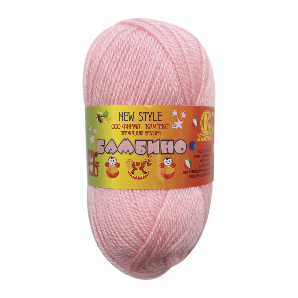"""Пряжа  Камтекс """"Бамбино"""" 150м./50,45г. розовый мериносовая шерсть 35%; акрил 35%"""