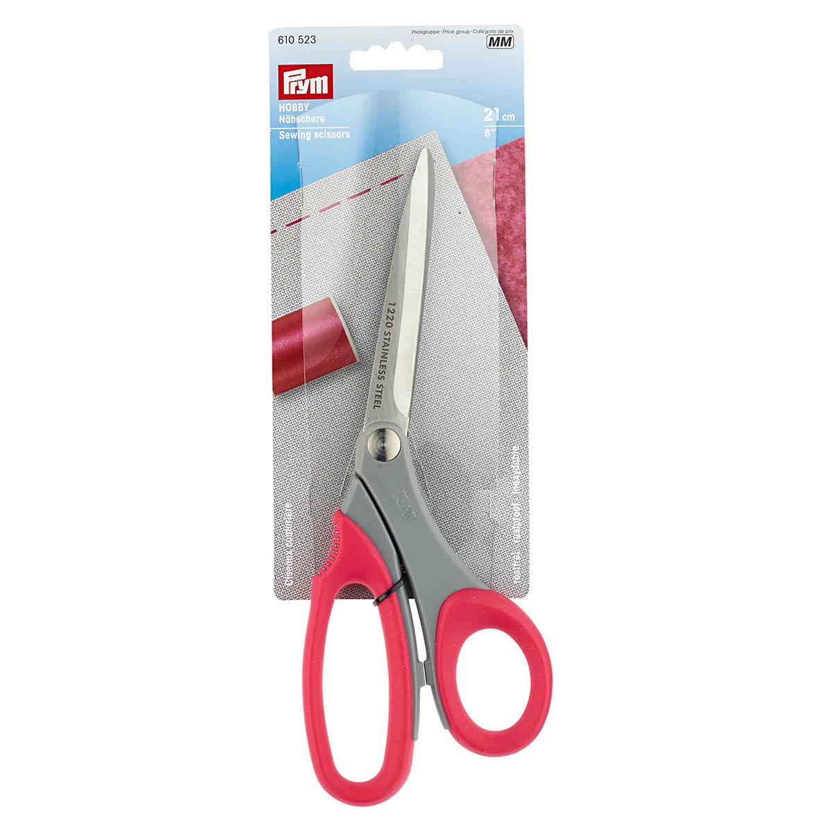 610523 Hobby Ножницы для шитья, пластм. ручки с мягкими кольцами, 21 см, Prym