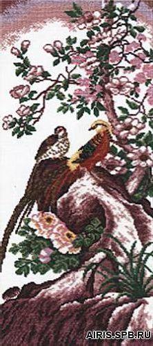 624 Набор для вышивания Hobby&Pro 'Китайские птицы', 40*17 см