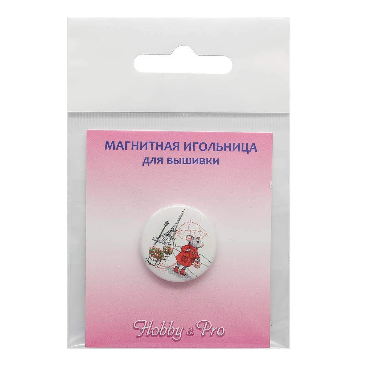 ИГ-16 Магнитная игольница 'Мышка в Париже' 25*3мм Hobby&Pro